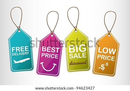 four cute tags over gray background. vector illustration