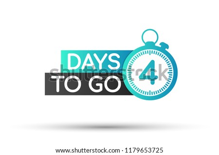 Four days to go. Vector stock illustration on white background.