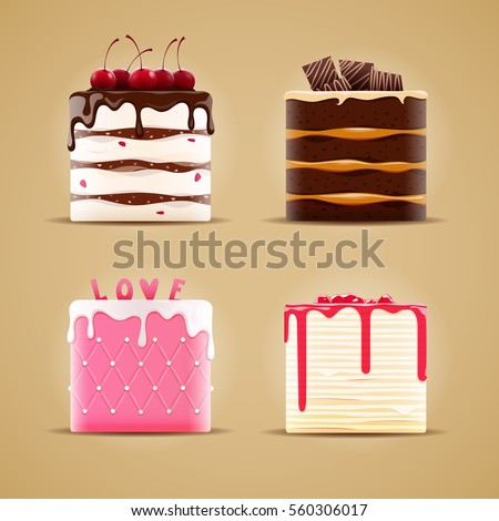 Four delicious different cakes