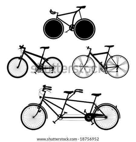 four detailed bicycles black and white silhouettes (also available in raster format)