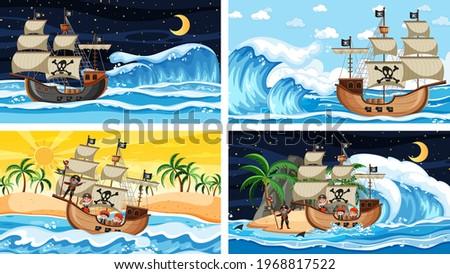 four different beach scenes