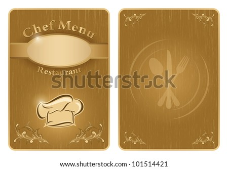 Four different chef menu board covers - isolated vector