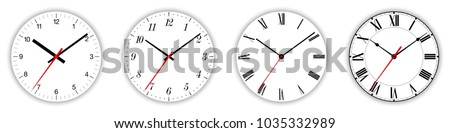 Four different clock faces over white, with regular, italic and fraktur numerals. Parts of analog clocks, or watches. Displays time through the use of a dial and moving hands. Illustration. Vector.