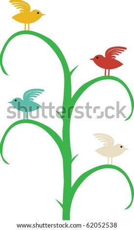 Four different color birds with wing up sit on curvy tree branches