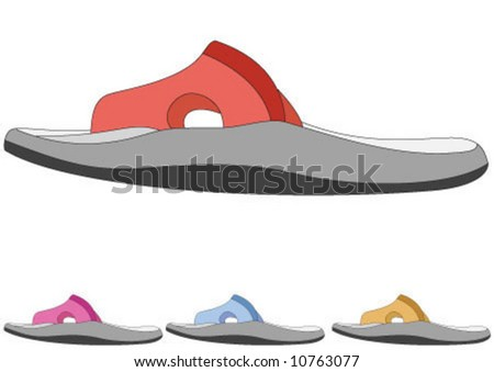 Four different color summer slippers - stock vector