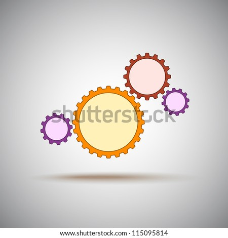Four different colored gears, represent the mechanism. Vector Graphics.