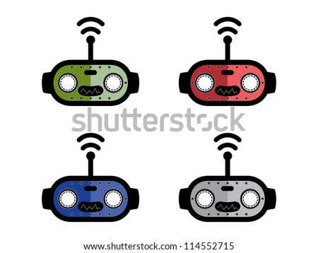 Four Different Colored Robot Heads.