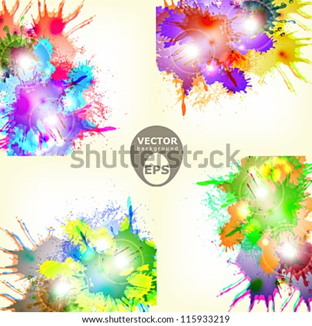 Four different colorful abstract paint splash vector background with some lights and brights effects - stock vector