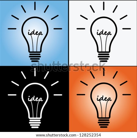 Four Different Concept Illustration of Idea using glowing bulb sign or Symbol with idea text at the middle with four different backgrounds.(Black, White, Gradient Blue and Gradient Red)
