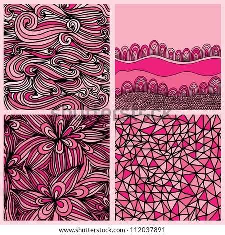 four different examples of seamless abstract pattern design
