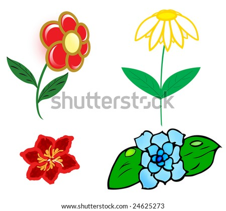 four different flowers; clip-art - stock vector