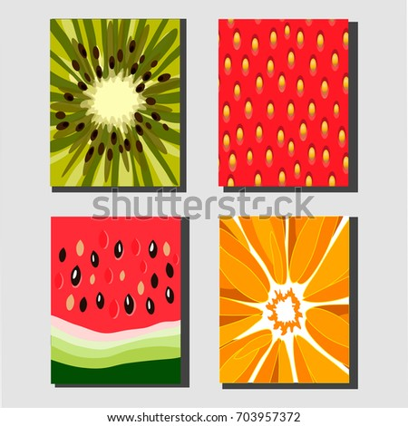 four different fruit vector