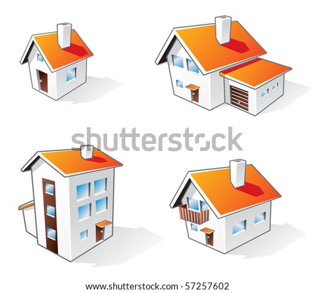 Four different houses vector icons illustration in cartoon style. Different family residential house types.