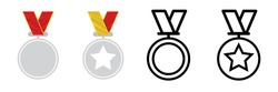 Four different medals and trophy icons. Star medal for first place, winner and award icon. Get vector icon illustration sign. Award vector icon. Modern logotype graphic line art design icons.