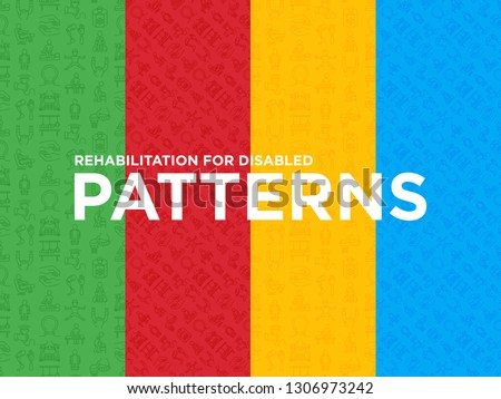 Four different Rehabilitation for disabled seamless patterns with thin line icons: magnetic therapy, laser, massage, lymphatic drainage, exoskeleton, biomechatronics. Vector illustration.