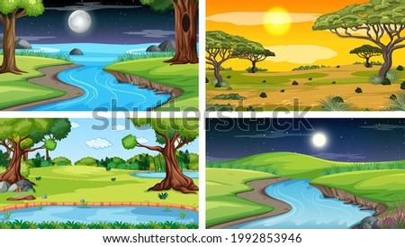 four different scene of nature