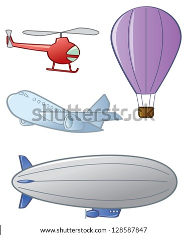 Four different types of aircraft or air vehicles.