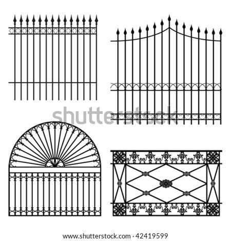 Four different wrought iron modular fences