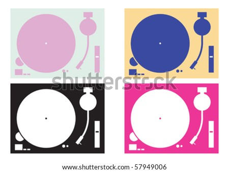 four dj record-player vector four  in colour combination