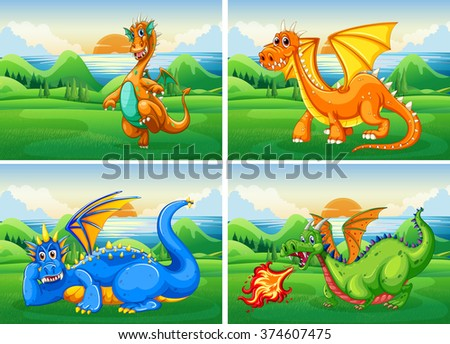 four dragons in the field