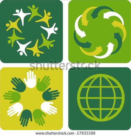 Four ecological template backgrounds with globe motive
