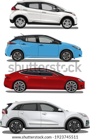 four electric cars, different models, colors and brands Stock photo ©