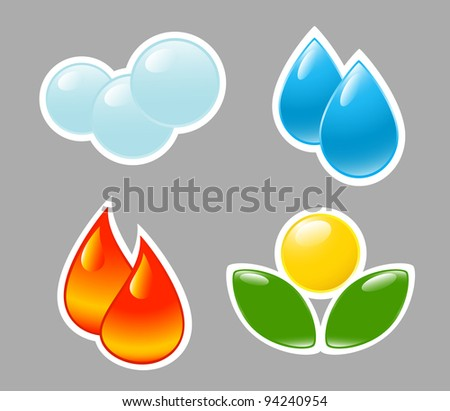 Four elements. Fire, water, air, ground. - stock vector