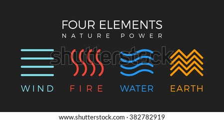Four elements icons, line symbols. Vector logo template.  Wind, fire, water, earth symbol. Pictograph.
