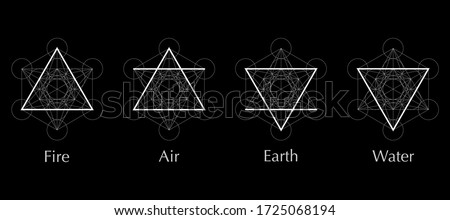 four elements icons, line, triangle and round symbols set template. Air, fire, water, earth symbol. Pictograph. Alchemy symbols isolated on black background. Magic vector decorative elements Photo stock ©
