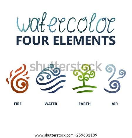 four elements watercolor  fire
