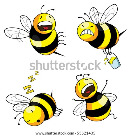 Four emotion bee comic character series vector stock vector