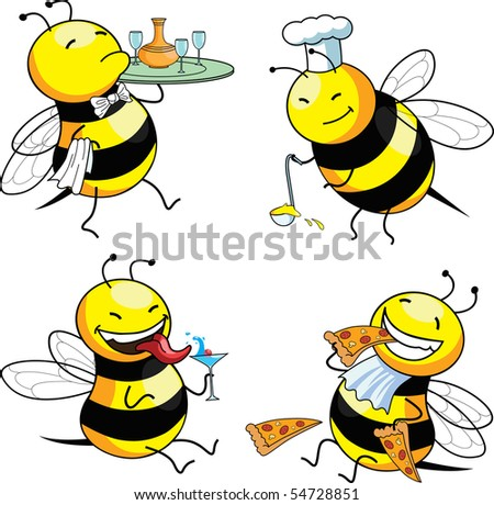four emotion bee comic character (vector)