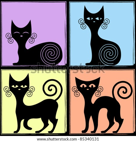 four emotions of a black cat