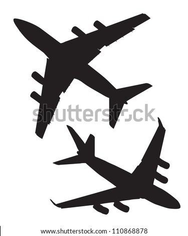 Four-engine jet airliners in the air isolated on white background