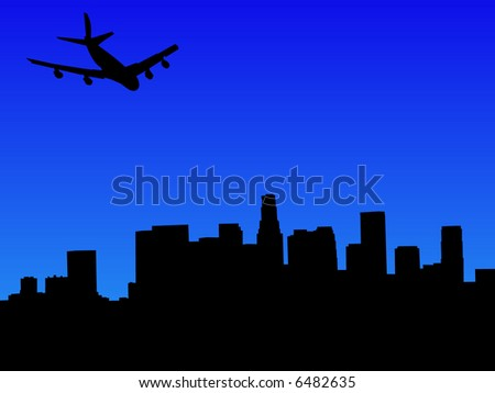 four engine plane arriving in Los Angeles