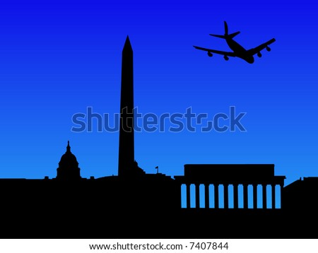 four engine plane arriving in Washington DC illustration