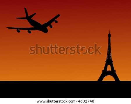 four engine plane flying towards Eiffel tower in Paris