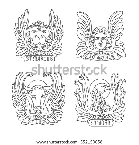 Four evangelists line symbols: angel, lion,  bull and eagle. Matthew, Mark, Luke, John.