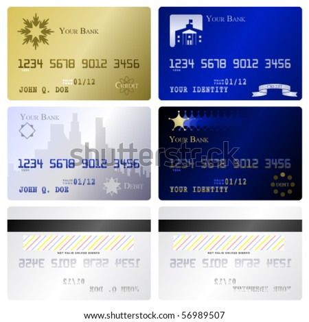 Four fake credit card fronts and two matching back sides