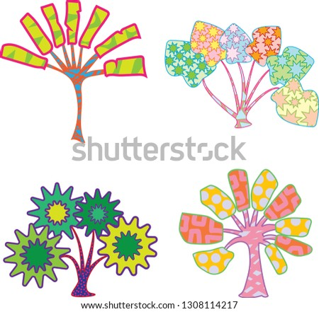 Four fantasy tropical colorful trees in vector