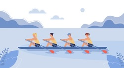 Four female athletes are swimming on a boat. The concept of rowing competitions. Vector illustration in flat design style.