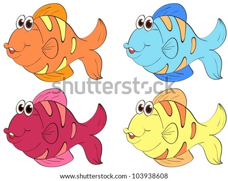Four fish in different colors - stock vector