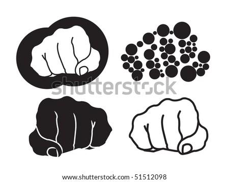 Four fist illustration on white background