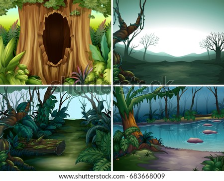 four forest scenes with trees
