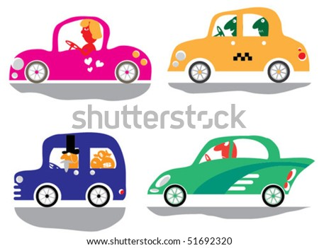Four funny car with a driver, isolated on a white background - stock ...
