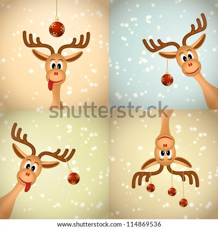 Four funny christmas reindeer with christmas balls and snow - vector illustration, eps 10