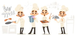 Four funny cook. Bon appetit lettering . Cook characters. Cartoon funny cook