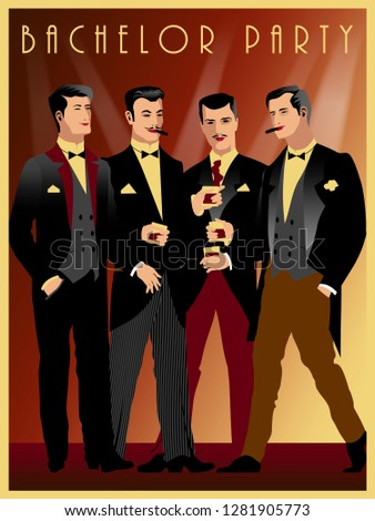 four gentlemen at a party in