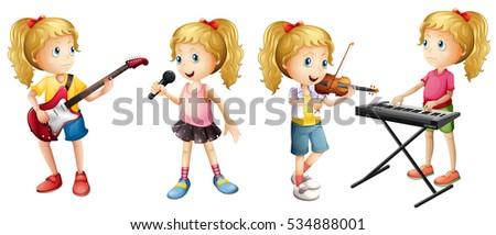four girls playing musical