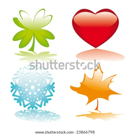 Four glossy buttons for holidays design (heart, clover leaf, snowflake, maple leaf). Vector illustration.
